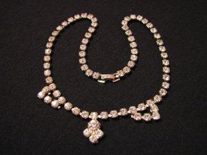 Vintage Jewelry Fashions Silver Tone Diamond Rhinestone Choker Necklace