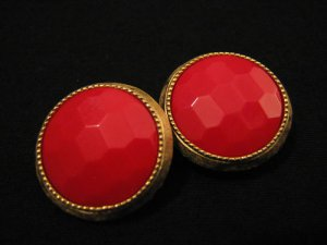 HUGE Vintage Gold Tone and Faceted Red Glass Round Clip Earrings