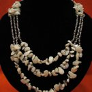 HUGE Vintage Silver Tone White Mother of Pearl 3 Strand Beaded Bib Necklace