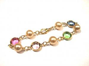 Vintage Deco Gold Tone White Faux Pearl Pastel Crystal Bezel Set Bracelet