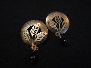 Vintage Brass Filigree Leaf Dangle Black Teardrop Beaded Pierced Earrings