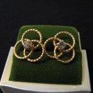 Vintage Gold Tone and Diamond Rhinestone Round Swirled Pierced Earrings