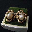 Vintage Gold Tone White Faux Pearl Diamond Rhinestone Swirled Flower Earrings