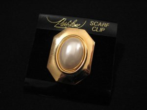 Vintage Park Lane Gold and White Faux Pearl Scarf Clip