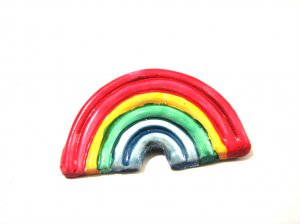Vintage Painted Plastic Rainbow Pin Brooch