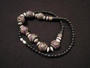Vintage Black Wooden Swirled Rainbow Bead Ball Necklace
