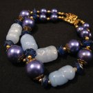 Vintage Gold Tone and Blue Glass Faux Pearl Beaded Double Strand Bracelet