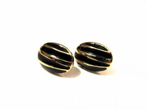 Vintage Gold Tone and Black Enameled Oval Puffy Pierced Earrings