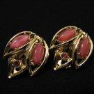 Vintage D&E Juliana Gold Tone Pink Moonstone Navette Diamond Rhinestone Leaf Clip Earrings
