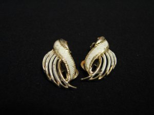 Vintage Gold Tone and White Enameled Swirled Fan Clip Earrings