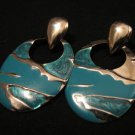 Vintage Chunky Silver Tone Aqua Teal Glitter Enameled Dangle Pierced Earrings