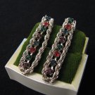 Vintage Silver Tone and Rainbow Diamond Rhinestone Chain Pierced Earrings