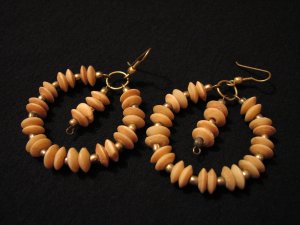BIG Vintage Gold Tone Round Natural Stone Beaded Dangle Pierced Earrings