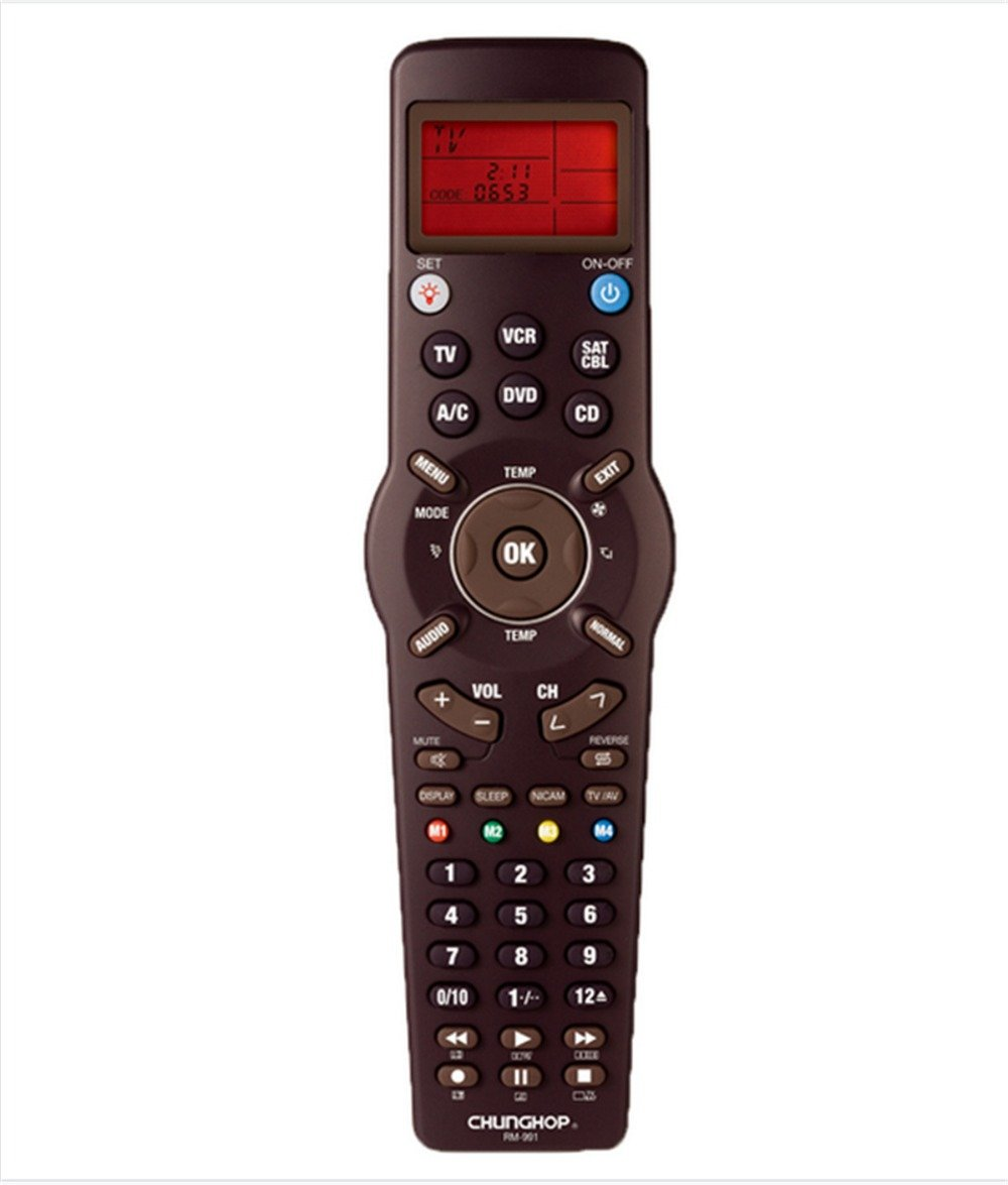 FOR Chunghop RM-991 TV/SAT/DVD/CBL/CD/AC/VCR universal remote control learning for 6 nets in 1 code