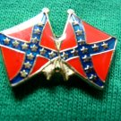 CROSSED REBEL YELL CONFEDERATE FLAG SHIRT LAPEL PIN