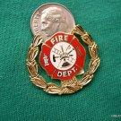 GOLD TONE WREATH FIRE DEPT. HOOK & LADDER LAPEL PIN