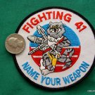 "4"" USN NAVY FIGHTING 41 TOMCAT WEAPON MILITARY PATCH"