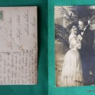 YOUNG COUPLE SMILING RPPC REAL PHOTO VINTAGE POSTCARD