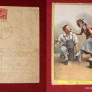 Early 1909 Stamp Couple Girl Tired Feet Perhaps I May Comic Old VINTAGE POSTCARD