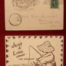 Early 1906 Stamp Girl Fishing Just a Line Los Angeles Comic Old VINTAGE POSTCARD