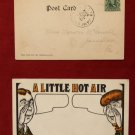 Early 1907 Stamp A Little Hot Air Man Girl Talking Comic Old VINTAGE POSTCARD PC