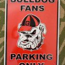 GEORGIA BULLDOGS BULLDOG FAN PARKING ONLY METAL SIGN