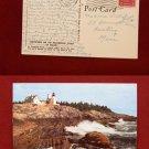 1955 Stamp Pemaquid Point Rockbound Coast Lighthouse Maine Old VINTAGE POSTCARD