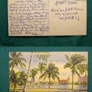 PANCOST LAKE & HOTEL VIEW MIAMI BEACH VINTAGE POSTCARD