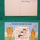 COMIC ARMY HAS 2 SIZES TOO SMALL BIG  VINTAGE POSTCARD