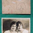TWIN SISTERS ? EARLY RPPC REAL PHOTO VINTAGE POSTCARD