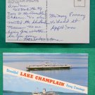 LAKE CHAMPLAIN FERRY BOAT CROSSING OLD VINTAGE POSTCARD