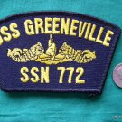 USS GREENVILLE SSN-772 USN NAVY MILITARY HAT PATCH