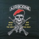 LARGE AIRBORNE RANGERS MESS WITH THE BEST SKULL FLAG