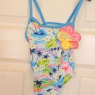 Baby Girls Swimsuit 18 to 24 months Tropical Flower Pattern 1 Piece Bathing Suit
