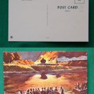FORT MADISON BURNING BY INDIANS PAINTING OLD POSTCARD