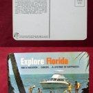 Explore Florida Advertising Boat Beach Photo View Old VINTAGE POSTCARD PC
