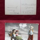 Children Boy & Girls on Snow Sled Early 1900's Old View VINTAGE POSTCARD
