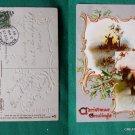 TUCK & SONS VINTAGE POSTCARD CHRISTMAS SNOWS 1910 STAMP