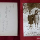 Early Christmas Xmas Greeting Boy & Girl Child View Old RPPC VINTAGE POSTCARD PC