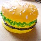 DOG TOY SQUEAKY Burger Pet Cheeseburger Hamburger Squeeky Food Vinyl New FUN