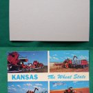KANSAS WHEAT STATE HARVEST FIELDS OLD VINTAGE POSTCARD