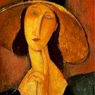 Jeanne Hebuterne in a Large Hat Amedeo Modigliani Poster 20X30 Art Print
