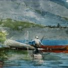 The Red Canoe Winslow Homer Poster 20X30 Art Print