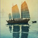 Sailing Boats Morning Hiroshi Yoshida Poster 20X30 Art Print