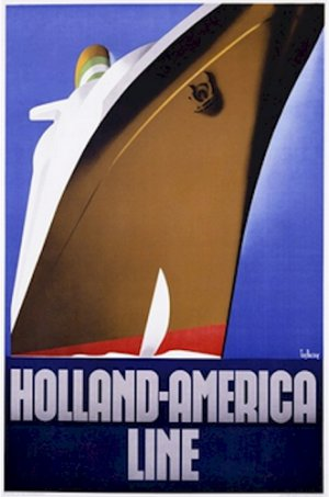 20X30 Art Deco Travel Poster Holland America Line