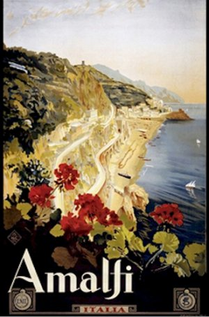 20X30 Art Deco Travel Poster Amalfi Coast