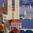 20X30 Art Deco Travel Poster Zurich Switzerland