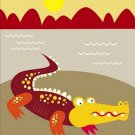 Poster Baby Toddler Crocodile On The Shore 16X20 Art Print
