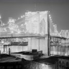 Black and White Photo 8X10 Brooklyn Bridge Night View