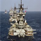 USS NEW JERSEY BB 62 leading the American battle line Photograph 8X12